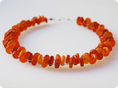 Kette rot orange kupfer Glasperlenkette