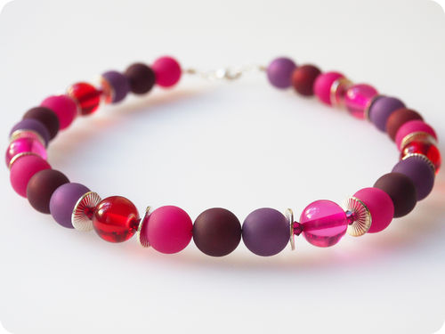 Polariskette pink lila beere Collier